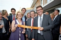 Hélène Mandroux, maire de Montpellier, Max Levita, président de la SERM Montpellier et Bruno Cavagné, président du groupe Giesper, lors de l'inauguration du 31 mai.