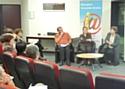 En compagnie de Franck Legrigeois (Equi'sol) et Nathalie Combal (La Poste), Nathalie Deleuze, responsable achats de Gaz Electrciité Grenoble (au centre) a exposé sa politique achats responsables lors d'une conférence organisée à la CCI de Grenoble.