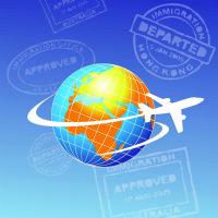 globe with plane