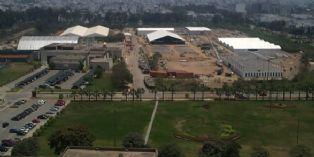 Site de Lima où se déroulera le COP20 en décembre. Sur cette photo, prise il y a une dizaine de jours, on peut voir les structures temporaires qui sont en-cours de montage sur cette base militaire.